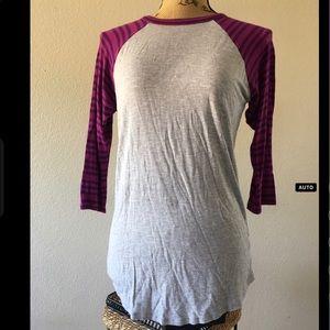 Lularoe Randy/grey base w/ purple striped sleeves